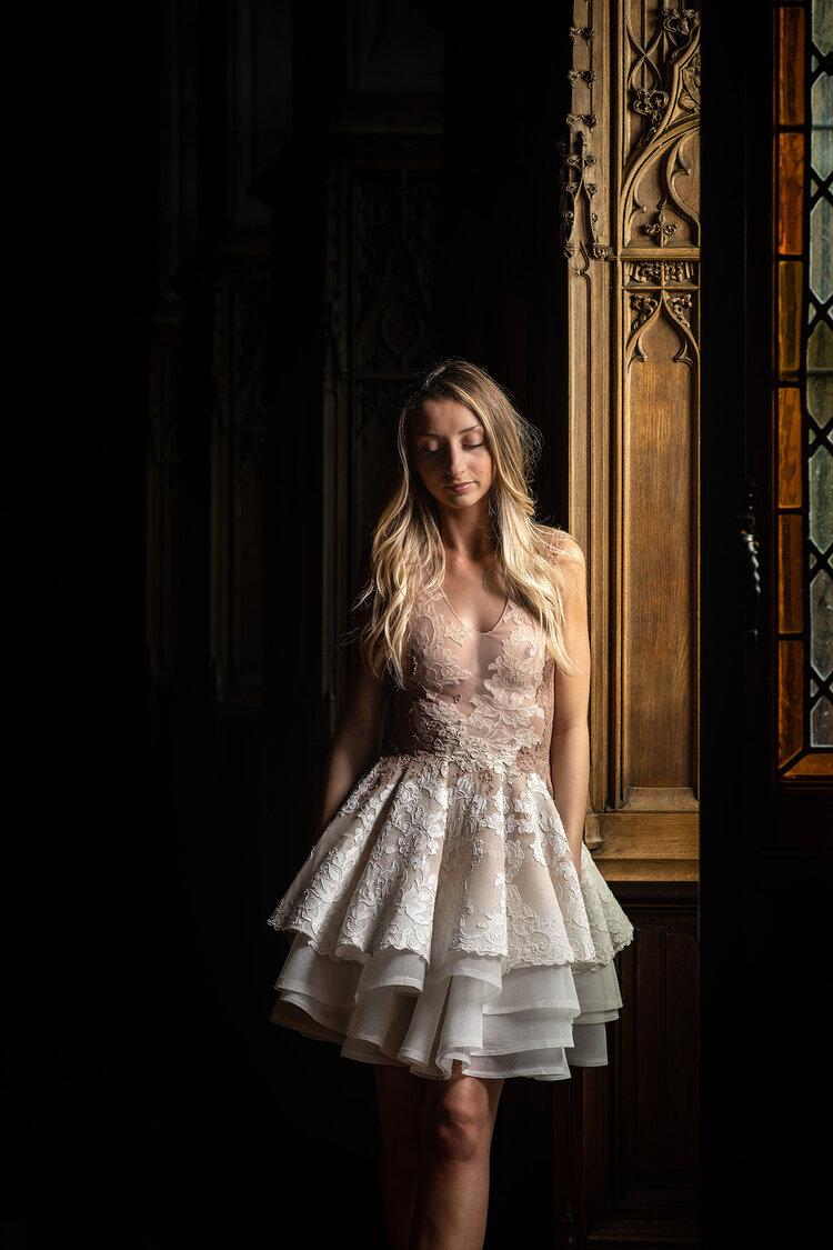 Sylvie Facon, robe de soirée, petite robe blanche, photo: Charles Delcourt