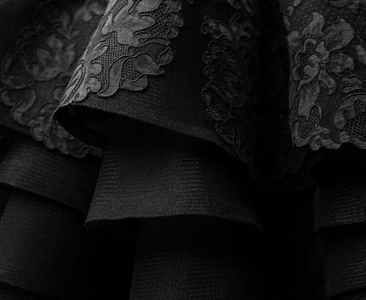 Sylvie Facon, robe de soirée, petite robe noire, photo: Charles Delcourt