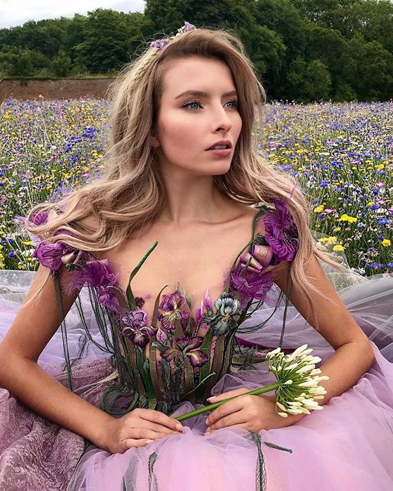 Robe de soirée Sylvie Facon, robe fleurie