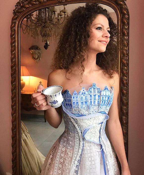 Robe de soirée Sylvie Facon, robe porcelaine, hommage
