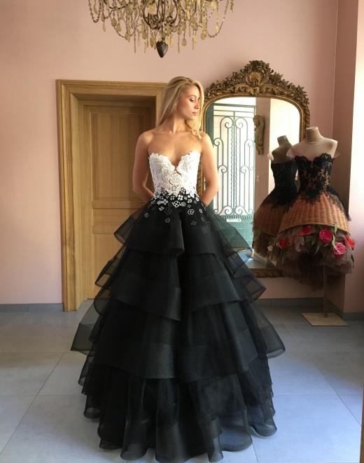 Robe de mariée Sylvie Facon, noire et blanche