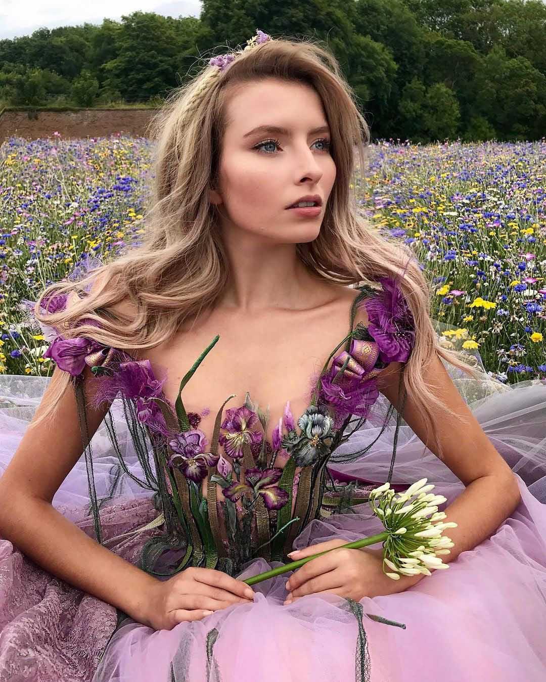 Robe inspiration Sylvie Facon, robe fleur, jupon d'organza