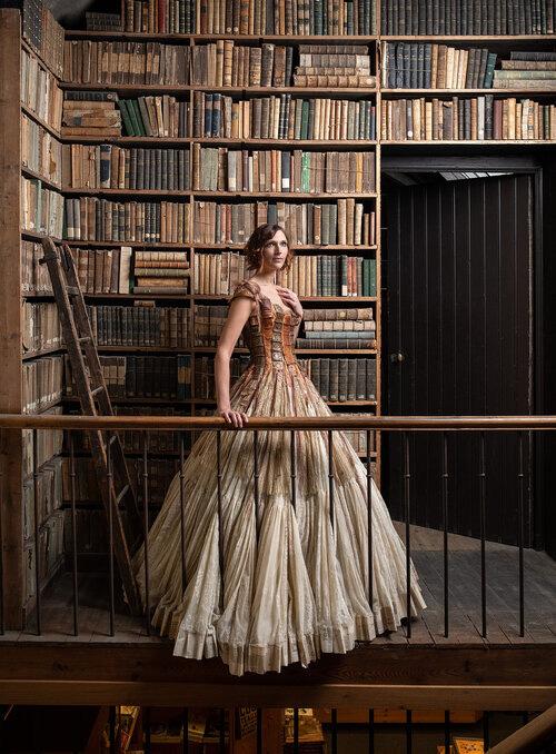 Robe livre Sylvie Facon, tranches de livres, bibliothèque