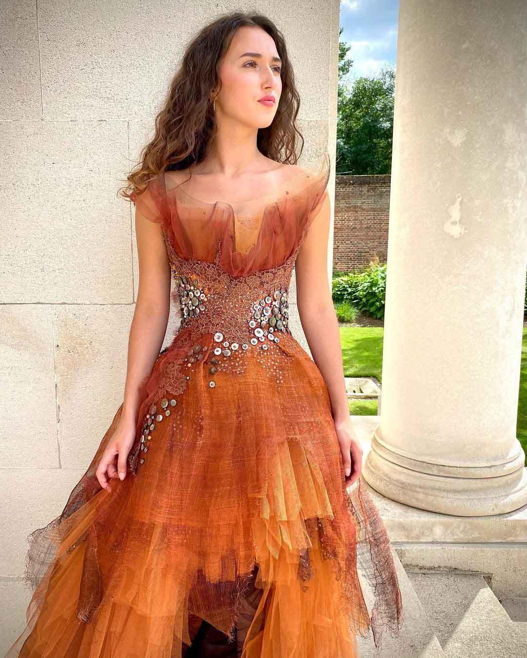 Robe disponible, Sylvie Facon, robe de soirée, la flamme